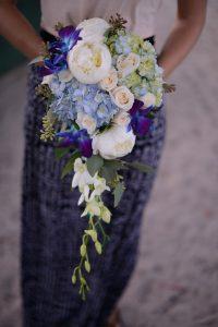 beach wedding blue bouquet